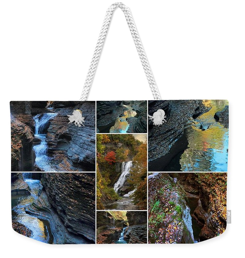 Finger Lakes Weekender Tote Bag featuring the photograph Finger Lakes Gorges Collage by Jessica Jenney