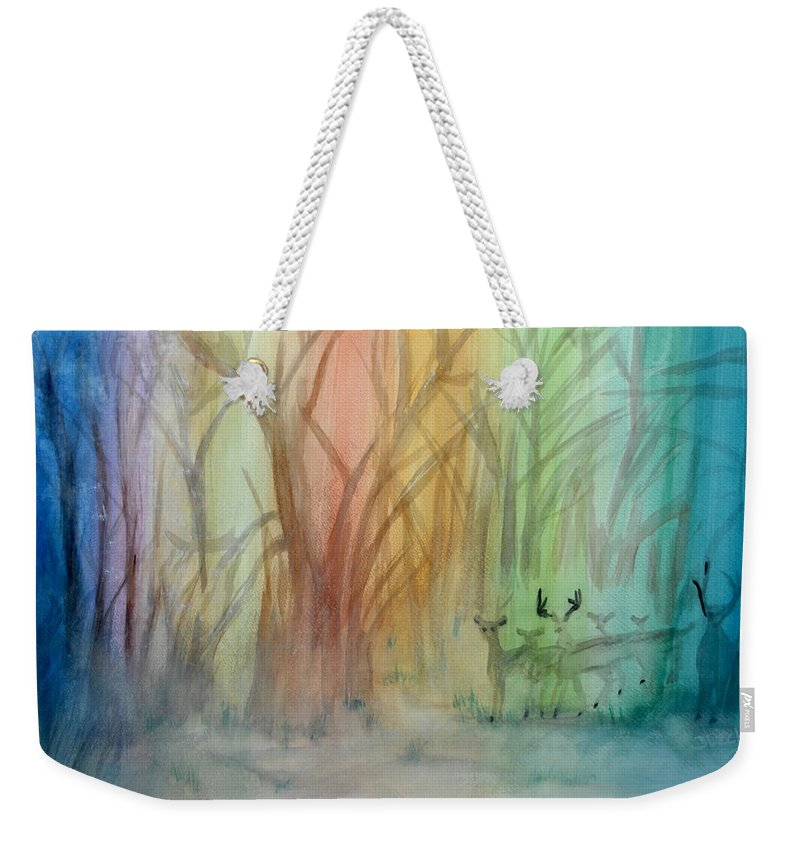 Rainbow Weekender Tote Bag featuring the painting Finian's Rainbow by Donna Blackhall