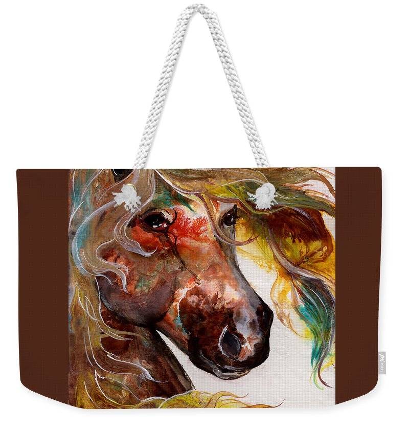 Horse Weekender Tote Bag featuring the painting Fire Agate by Sherry Shipley