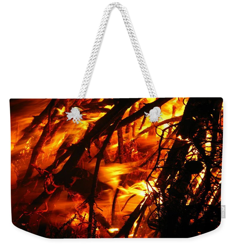 Robert Frost Weekender Tote Bag featuring the photograph Fire And Ice by Brittany Horton