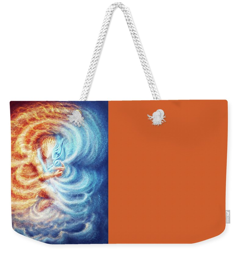Fire Ice Elemenets Male Female Burn Burning Weekender Tote Bag featuring the painting Fire And Ice by Karolina Wegrzyn