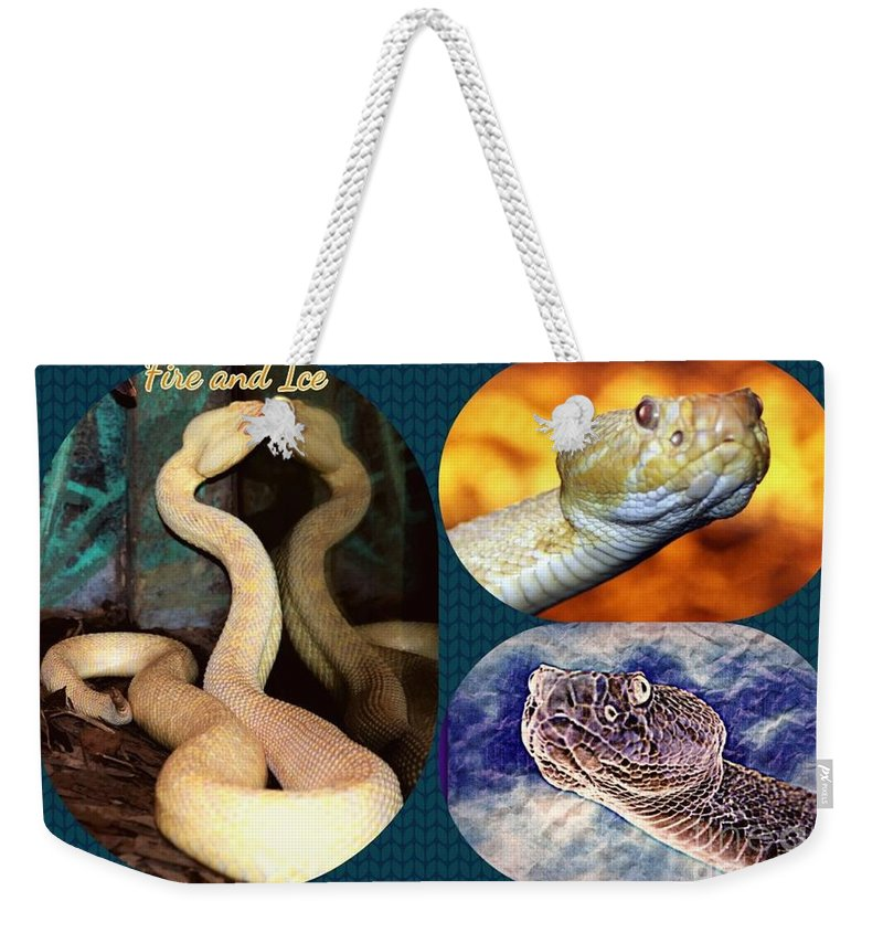 Snake Weekender Tote Bag featuring the photograph Fire And Ice Slither Collage by Diann Fisher