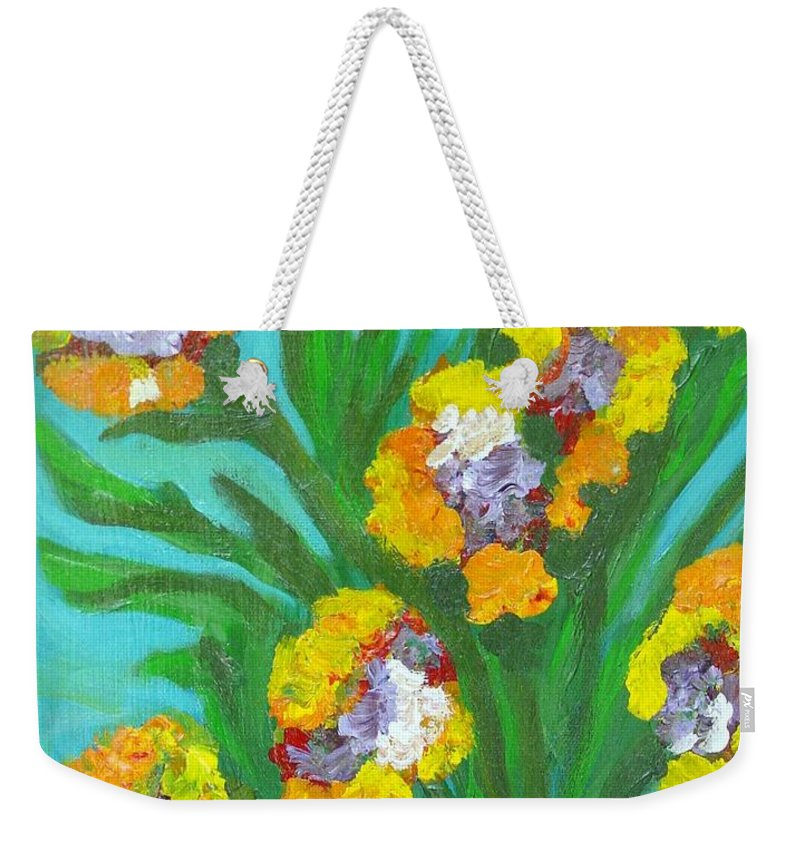 Flower Weekender Tote Bag featuring the painting Fire Blossoms by Laurie Morgan