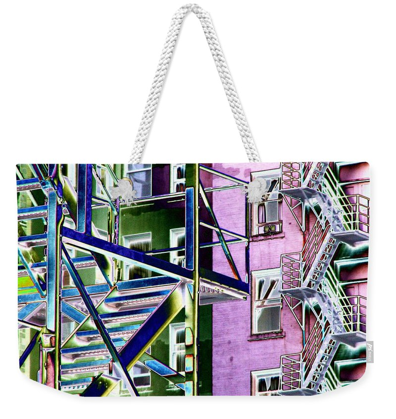 Fire Weekender Tote Bag featuring the digital art Fire Escape 2 by Tim Allen