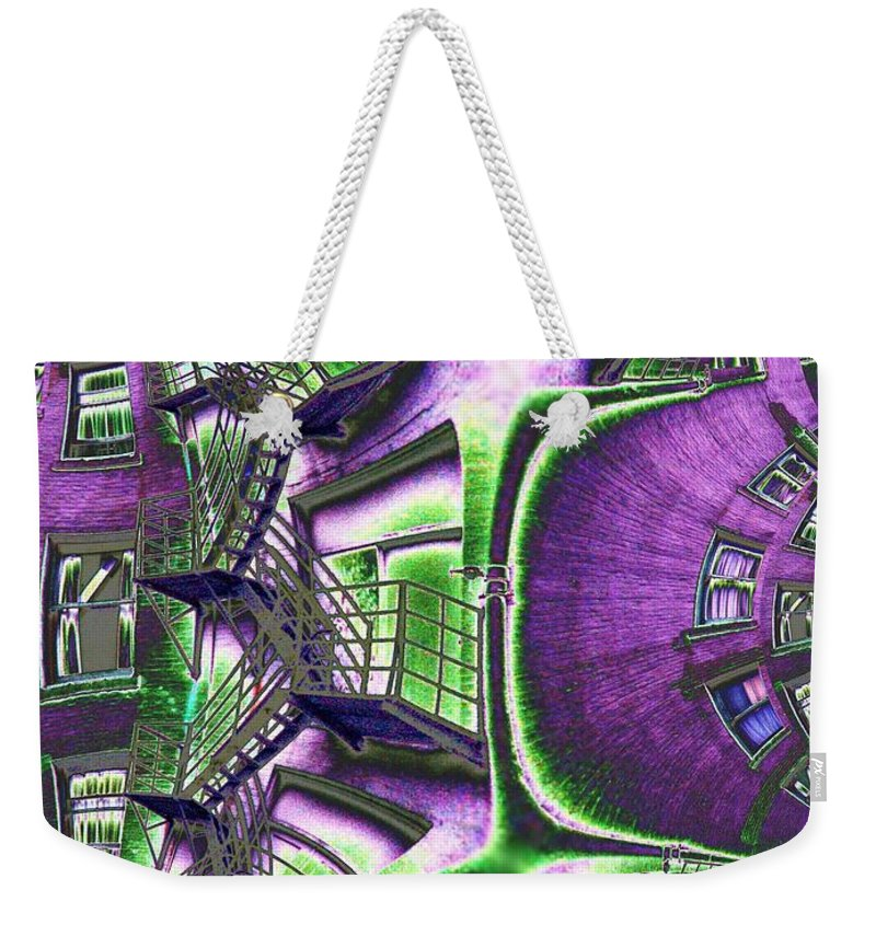 Fire Escape Weekender Tote Bag featuring the photograph Fire Escape Fractal by Tim Allen