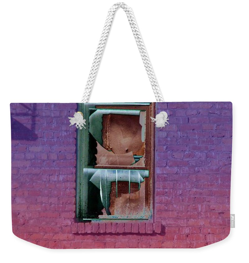Architecture Weekender Tote Bag featuring the photograph Fire Escape Window 2 by Tim Allen