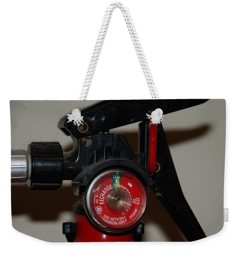 Fire Extinguisher Weekender Tote Bag featuring the photograph Fire Extinguisher by Rob Hans