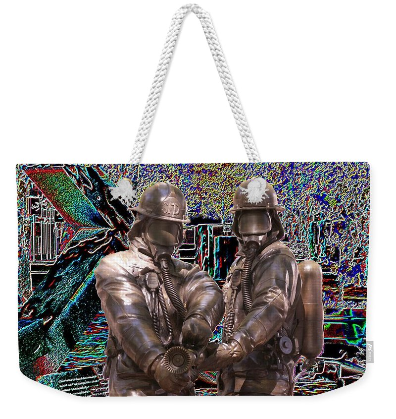 Fire Fighter Weekender Tote Bag featuring the photograph Fire Fighters Memorial Seattle by Tim Allen