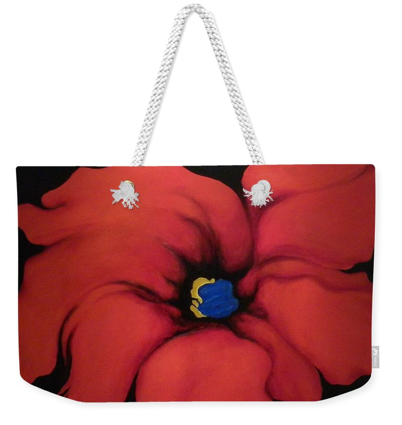 Red Bloom Artwork Weekender Tote Bag featuring the painting Fire Flower by Jordana Sands