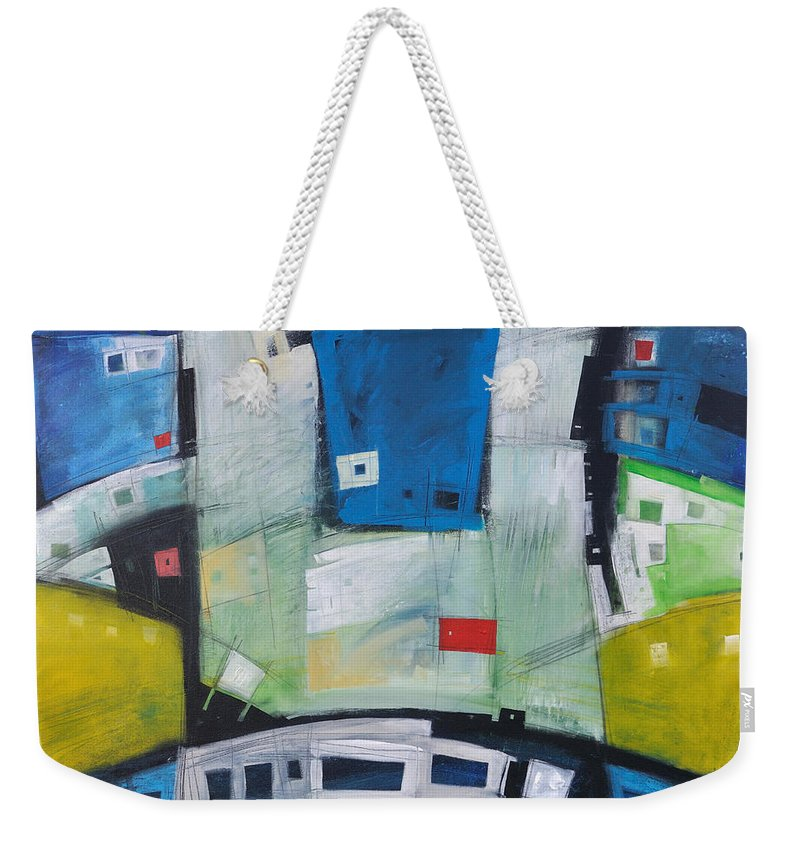 Abstract Weekender Tote Bag featuring the painting Fire In The Belly by Tim Nyberg