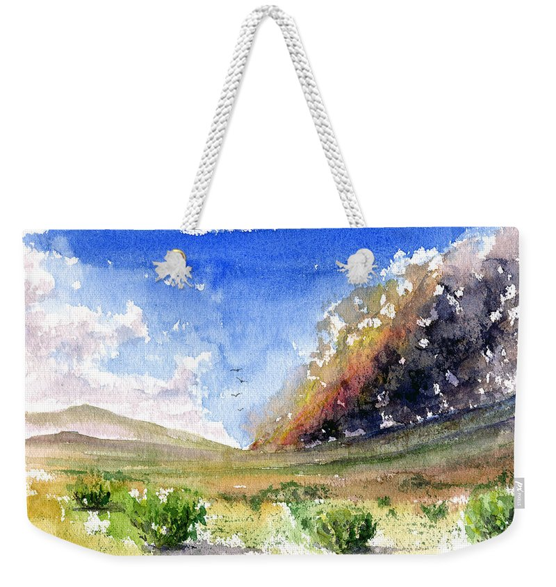 Fire Weekender Tote Bag featuring the painting Fire in the Desert 1 by John D Benson