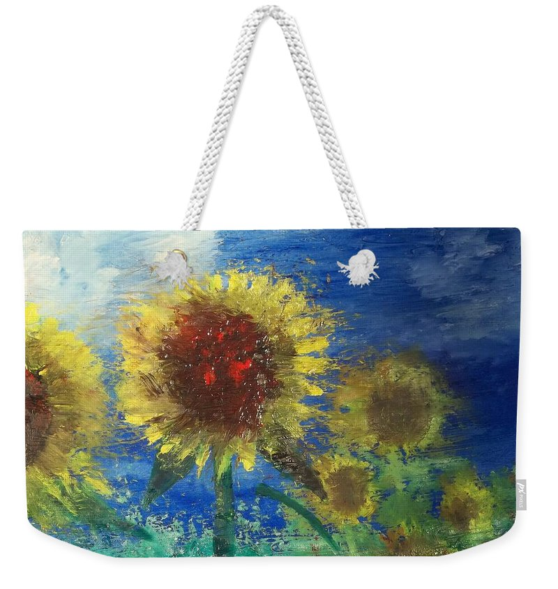 Flowers Weekender Tote Bag featuring the painting Fire In The Field by J Bauer