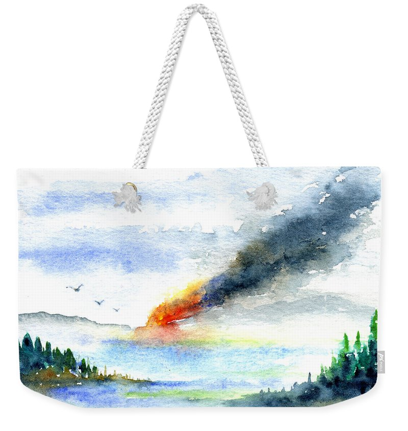 Fire Weekender Tote Bag featuring the painting Fire in the Mountains by John D Benson