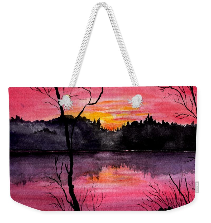 Landscape Weekender Tote Bag featuring the painting Fire In The Sky  Lake Arrowhead Maine by Brenda Owen