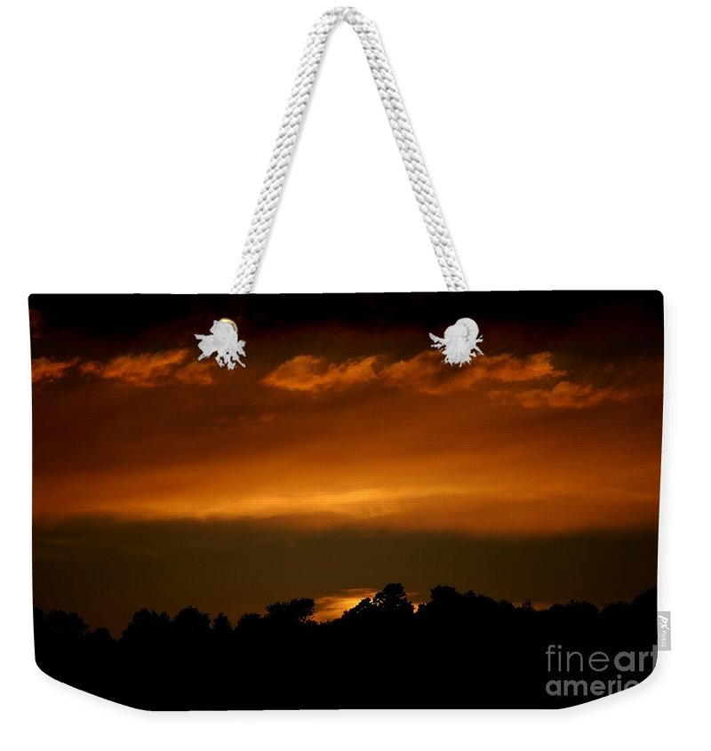 Digital Photo Weekender Tote Bag featuring the photograph Fire In The Sky by David Lane