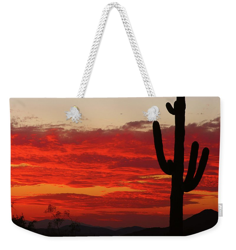 Sunset Weekender Tote Bag featuring the photograph Fire In The Sky by James BO Insogna