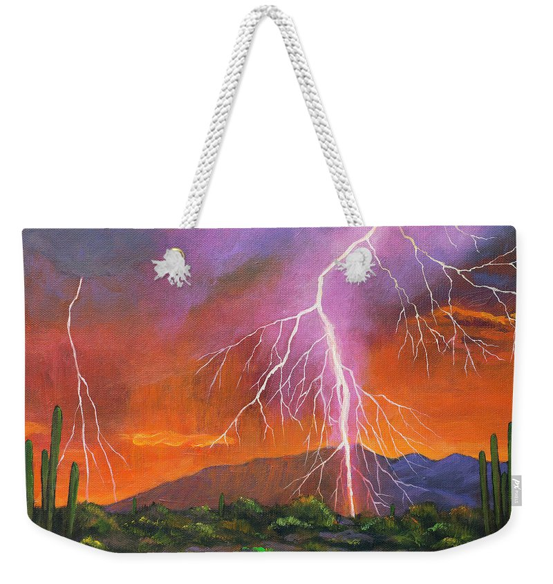 Arizona Weekender Tote Bag featuring the painting Fire in the Sky by Johnathan Harris