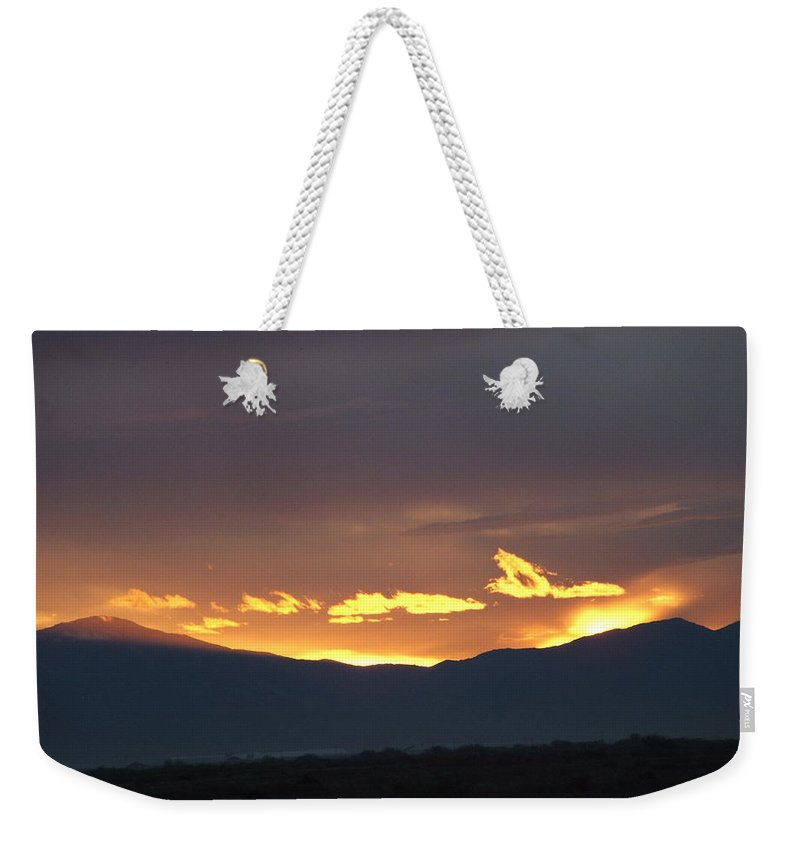 Sunset Weekender Tote Bag featuring the photograph Fire In The Sky by Shari Chavira