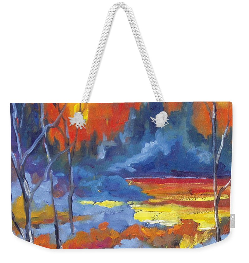 Art Weekender Tote Bag featuring the painting Fire Lake by Richard T Pranke