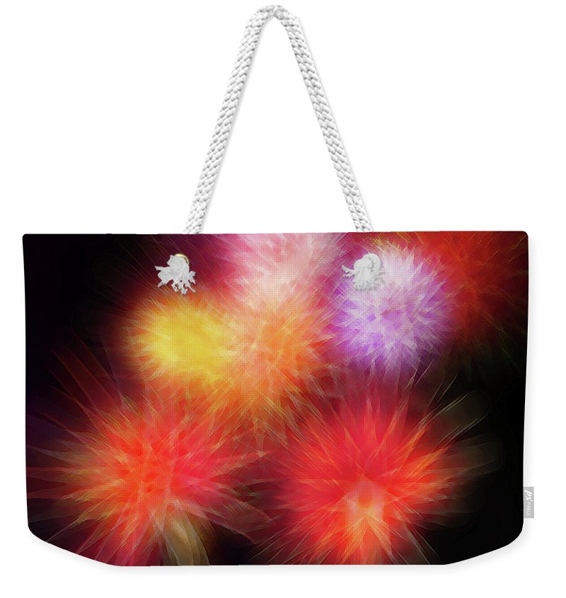 Fireworks Weekender Tote Bag featuring the digital art Fire Mums Floral - Fireworks Collage by Steve Ohlsen