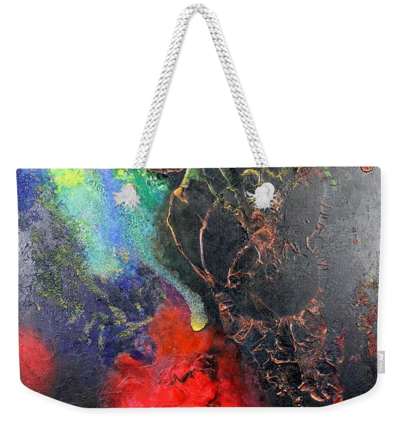Valentine Weekender Tote Bag featuring the painting Fire Of Passion by Farzali Babekhan