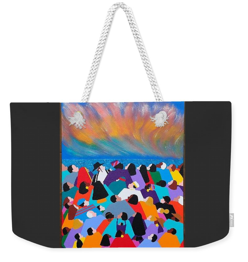 Obama Weekender Tote Bag featuring the painting Fire Rainbow Obama by Synthia SAINT JAMES