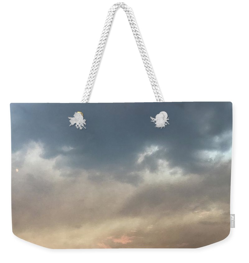 Sky Weekender Tote Bag featuring the photograph Fire Sky Sunset With Moon by Lorie Stevens