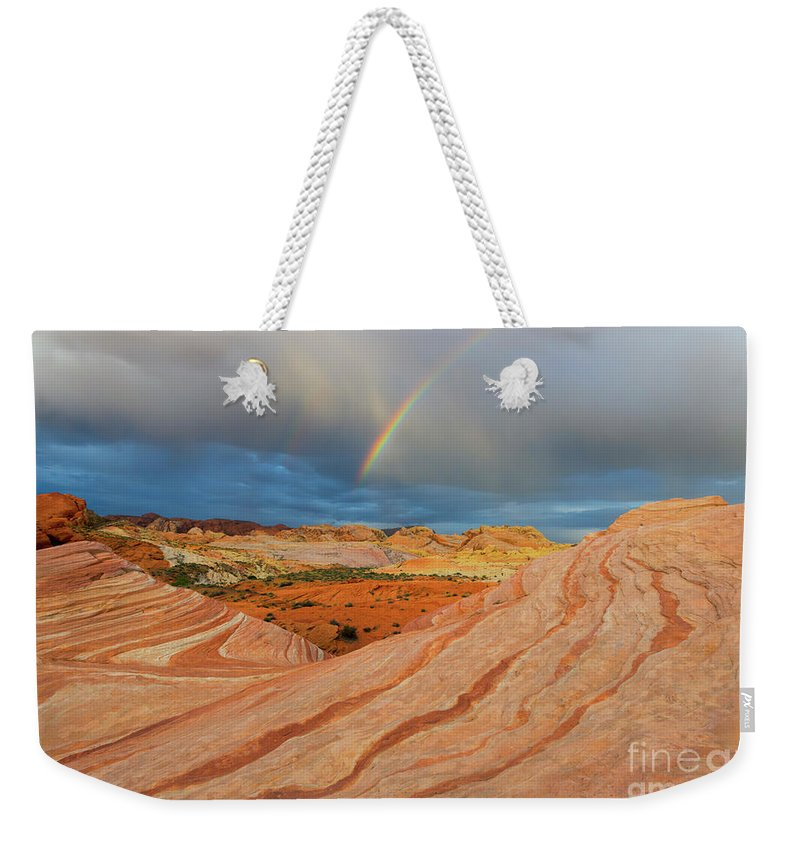 Fire Wave Weekender Tote Bag featuring the photograph Fire Wave Rainbow Dawn by Mike Dawson