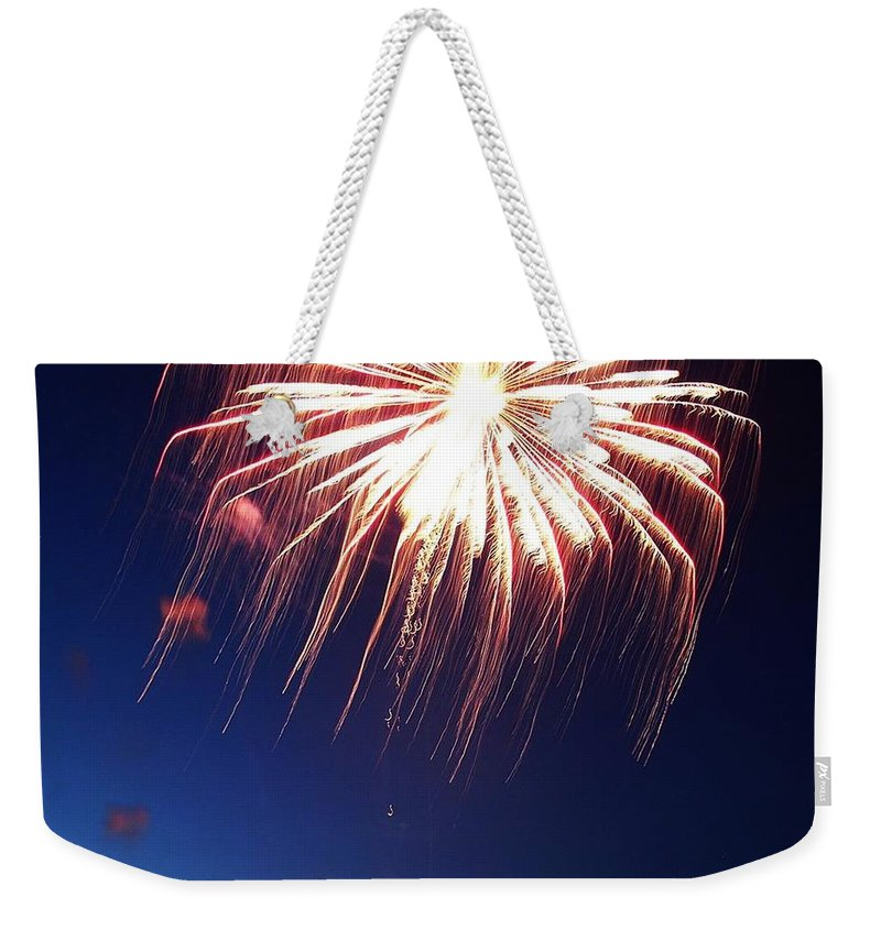 Firework Weekender Tote Bag featuring the photograph Fire Work Folly by Pattie Frost