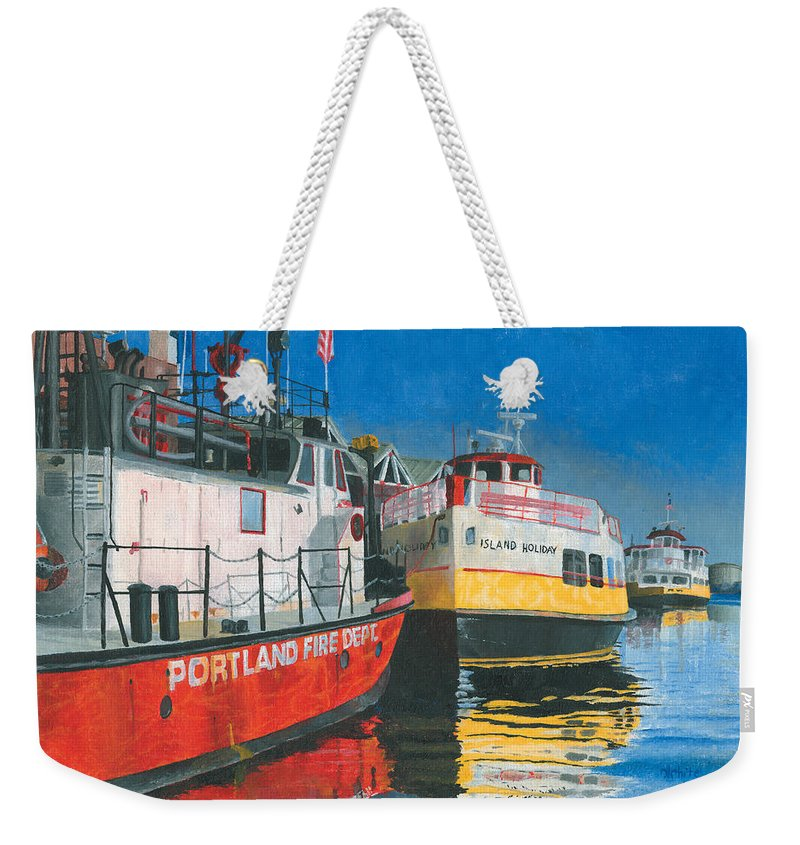 Fireboat Weekender Tote Bag featuring the painting Fireboat And Ferries by Dominic White