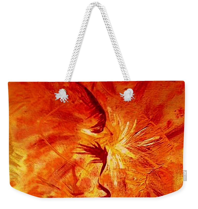 Abstract Weekender Tote Bag featuring the painting Firebrand by Rusty Gladdish
