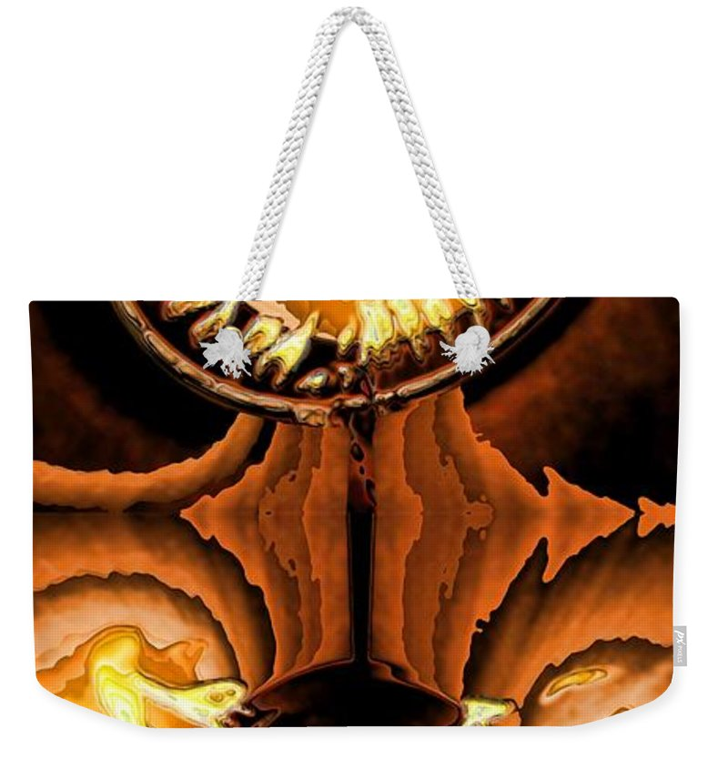 Collage Weekender Tote Bag featuring the digital art Fired Up by Ron Bissett