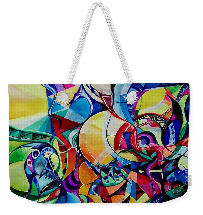 Emil Chakalov Firefly Gypsy Swing Acrylic Abstract Pens Paper Weekender Tote Bag featuring the painting Firefly by Wolfgang Schweizer
