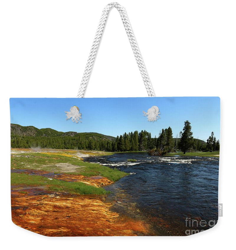 Park Weekender Tote Bag featuring the photograph Firehole River Colors by Christiane Schulze Art And Photography