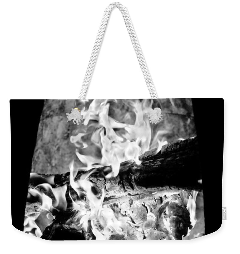 Black And White Weekender Tote Bag featuring the photograph Fireplace Black And White by Jill Reger