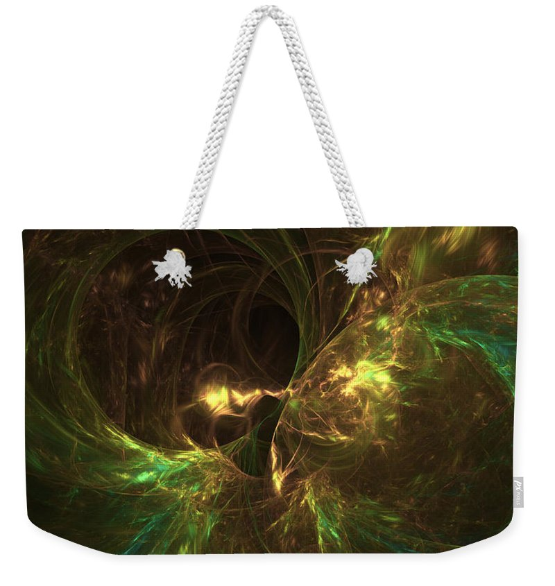Landscape Shape Weekender Tote Bag featuring the digital art Fireplace Comfort by John Pirillo