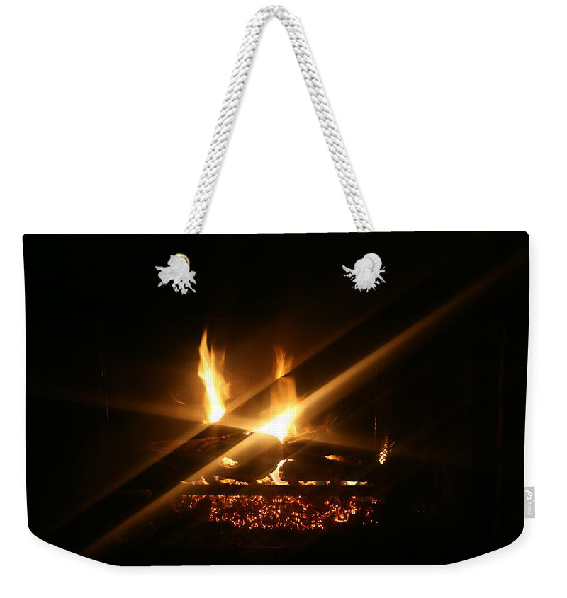 Fireplace Weekender Tote Bag featuring the photograph Fireplace by Ellen Henneke