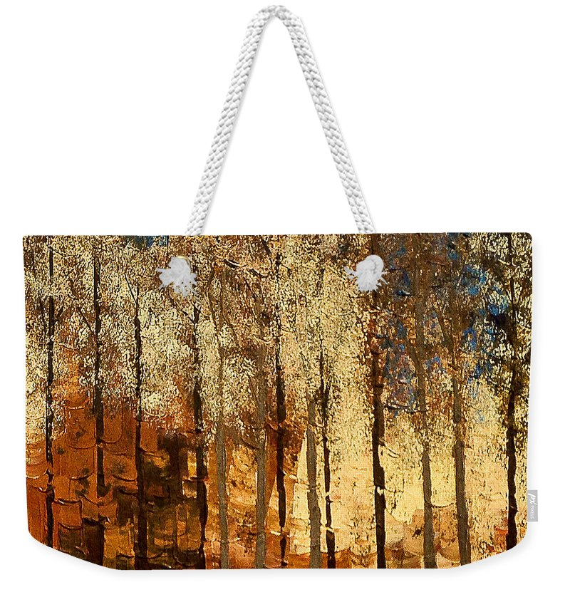 Fire Weekender Tote Bag featuring the painting Firestorm by Linda Bailey