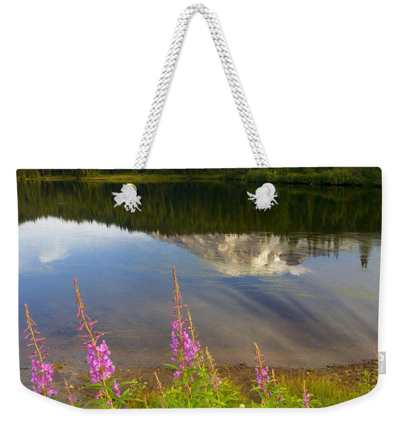 Fireweed Weekender Tote Bag featuring the photograph Fireweed Reflections by Mike Dawson