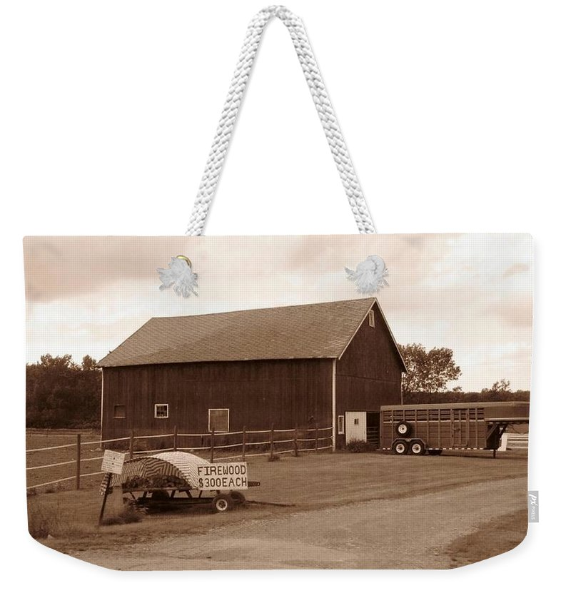 Barn Weekender Tote Bag featuring the photograph Firewood For Sale by Rhonda Barrett