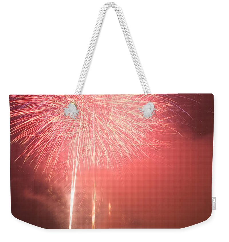 Fireworks Weekender Tote Bag featuring the photograph Fireworks In Venice by Ian Middleton