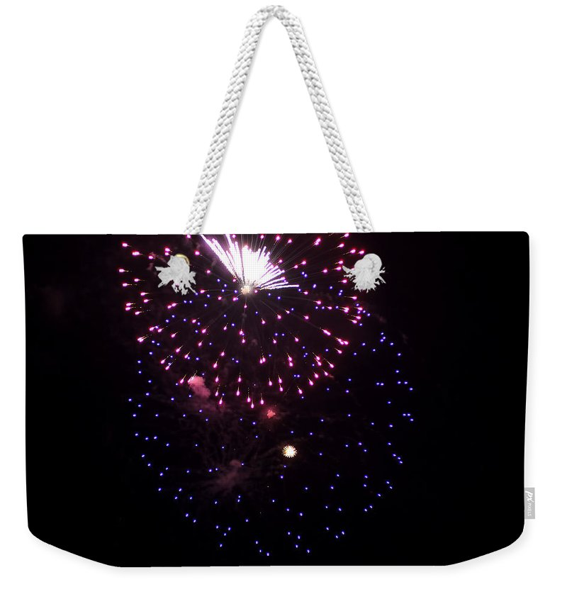 Weekender Tote Bag featuring the photograph Fireworks Over Puget Sound 10 by Cathy Anderson