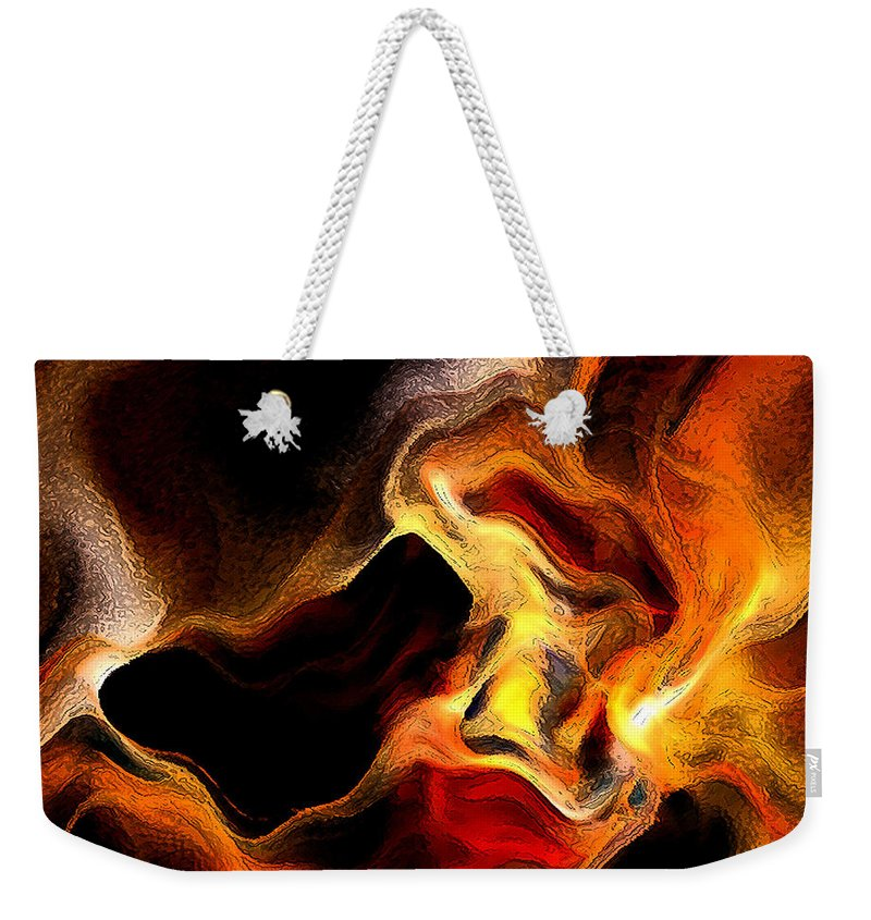 Abstract Weekender Tote Bag featuring the digital art Firey by Ruth Palmer