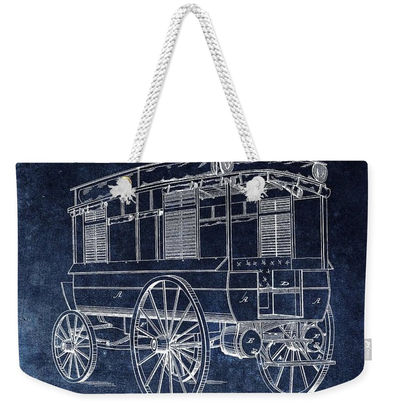 1858 Ambulance Patent Weekender Tote Bag featuring the drawing First Ambulance Patent by Dan Sproul