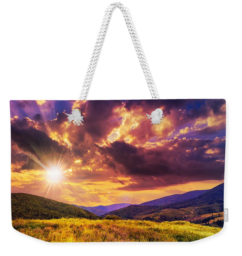 Mountain Weekender Tote Bag featuring the photograph First Beams In Highland by Michael Pelin