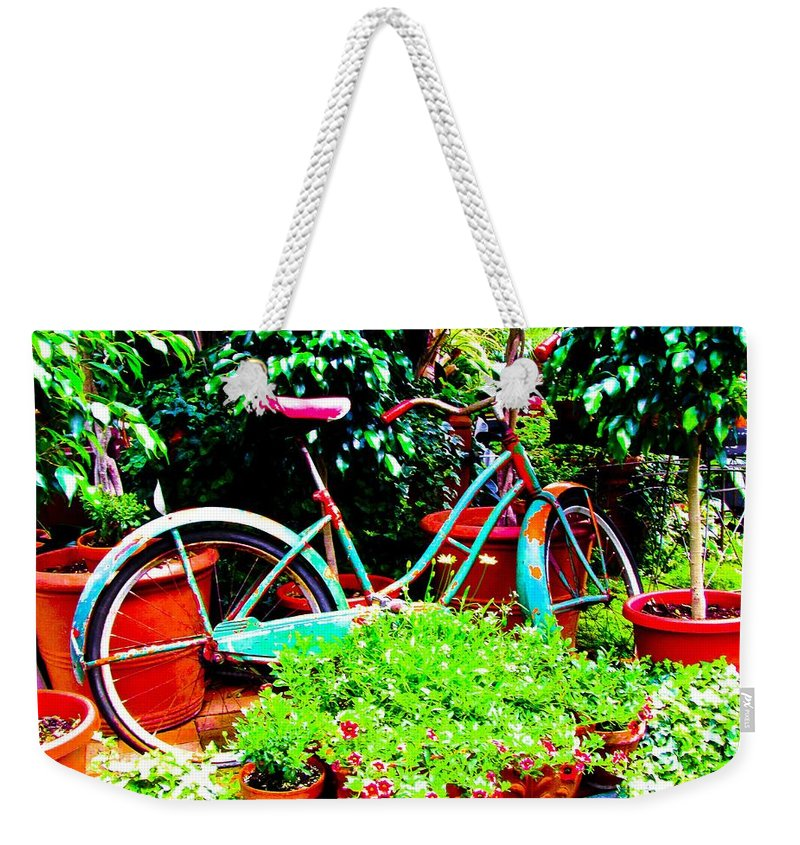 Living Room Weekender Tote Bag featuring the photograph First Bike by Johnnie Stanfield