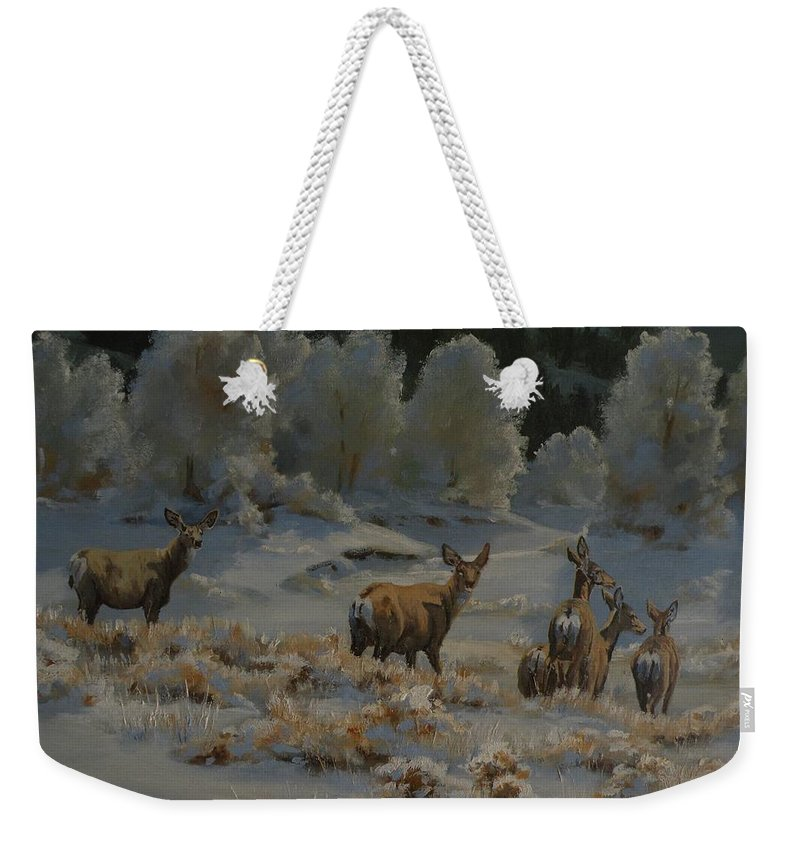 Mule Deer Weekender Tote Bag featuring the painting First Cold Snap by Mia DeLode