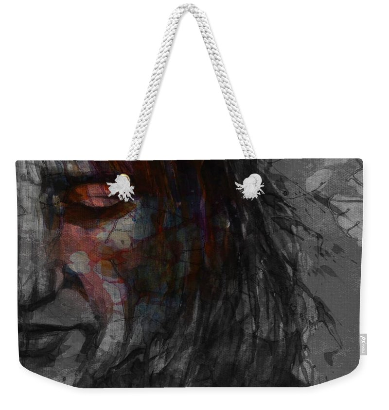 Rod Stewart Weekender Tote Bag featuring the mixed media First Cut Is The Deepest Rod Stewart by Paul Lovering