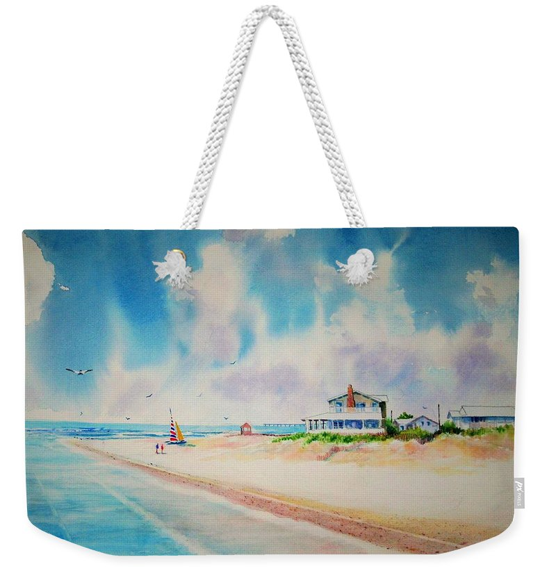 Beach Weekender Tote Bag featuring the painting First Day Of Vacation Is Pricless by Tom Harris