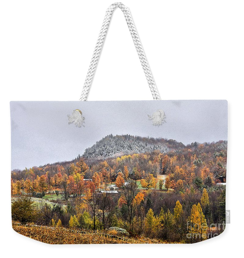 Fall Weekender Tote Bag featuring the photograph First Dusting by Deborah Benoit